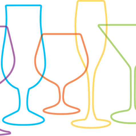 Coloured outline of drinking glasses