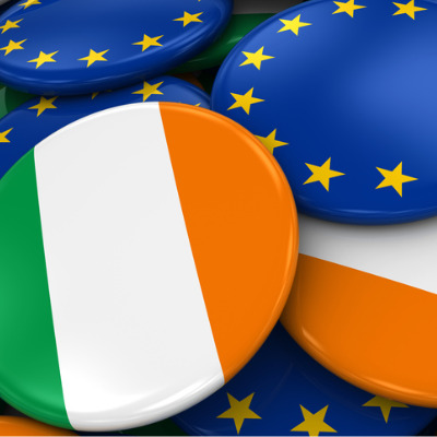 Badges with Irish and EU flags