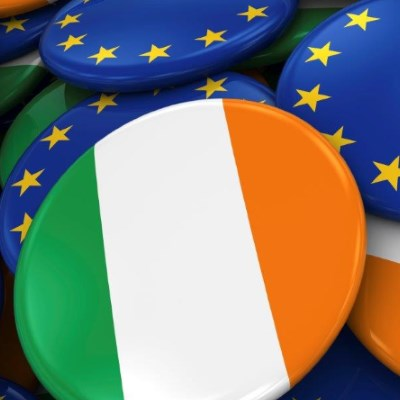 Ireland and EU flags on badges