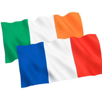 Ireland and France flags on a white background