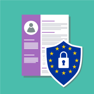 Image of a form with personal data and an icon representing European legislative protection