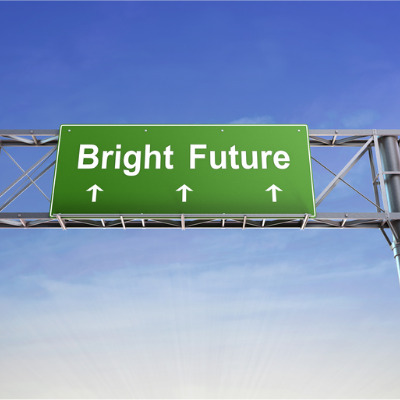 The words 'Bright future' written on an large motorway signpost