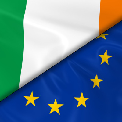 An image of the Irish flag and the EU flag