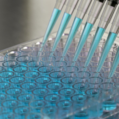 Image of pipettes pouring a liquid into test tubes in a test tube tray