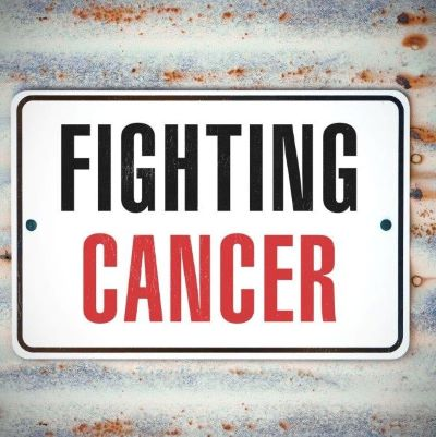 Graphic with text that reads Fighting Cancer