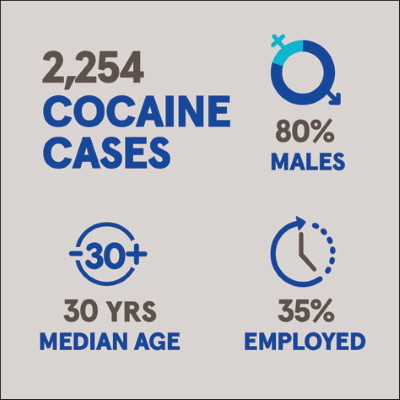 2,254 cocaine cases, 80% males, 30 years median age, 35% employed