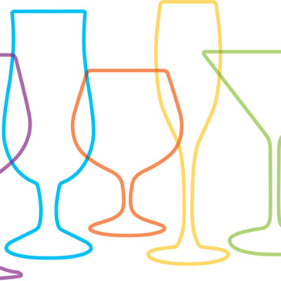 Multicoloured illustration of the outline of a number of cocktail glasses