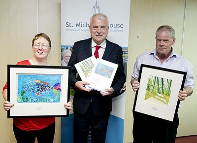 Olga Forde with 'Under the Sea', Minister Finian McGrath, and John Murphy with 'Emerald Forest'