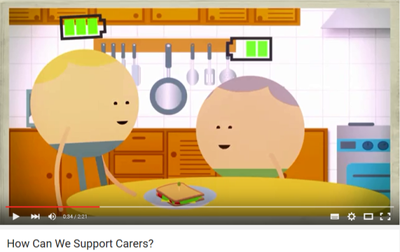Screenshot from the supporting dementia carers video.