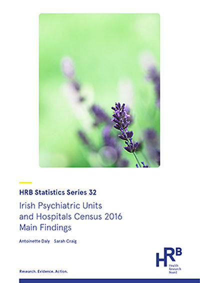 Front cover of HRB inpatient psychiatric unit and hospital census data 2016