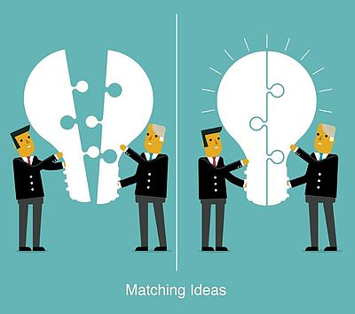 Matching ideas - illustration of two people bringing two large jigsaw pieces together that form a lightbulb shape