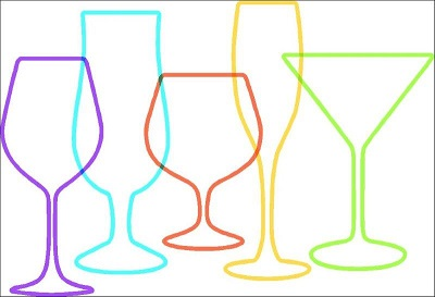 coloured outline of cocktail glasses